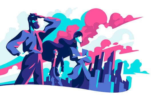 Uomini d'affari che guardano verso il futuro e nuove opportunità di business