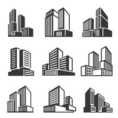 Office buildings, houses line and bold icons set isolated on white. Business district, downtown area.