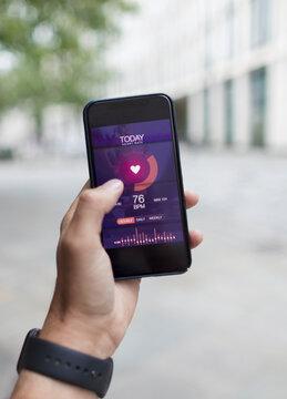 POV Smart phone health app on screen