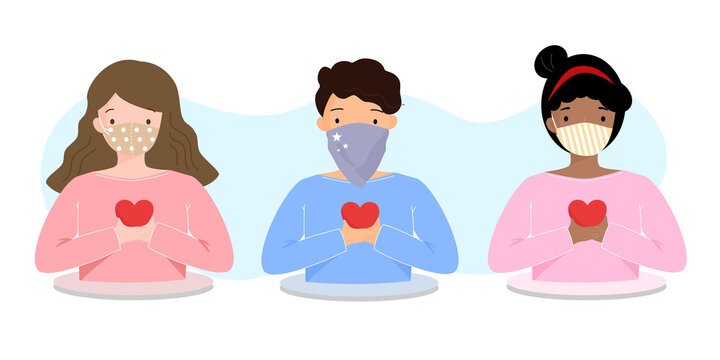 Diverse people wearing cloth face covering or fabric mask to protect and help slow spread of Covid19 holding red heart in Coronavirus pandemic awareness and self care concept. Vector illustration