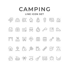 Set line icons of camping