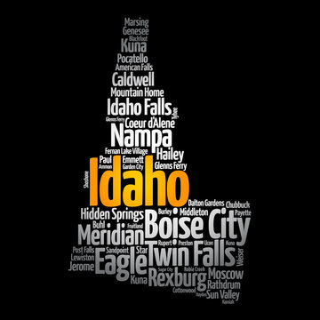 List of cities in Idaho USA state, map silhouette word cloud, map concept background