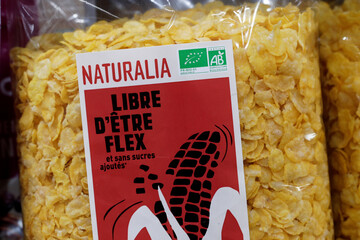 Naturalia's own-brand corn cereals sit on display in a Naturalia organic foods grocery store operated by Casino Group, in Bretigny-sur-Orge