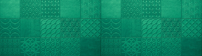 Dark green turquoise vintage retro geometric square mosaic motif cement tiles texture background...
