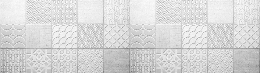 Gray white bright vintage retro geometric square mosaic motif cement tiles texture background banner panorama