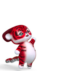 cute tiger cartoon looking up in white background