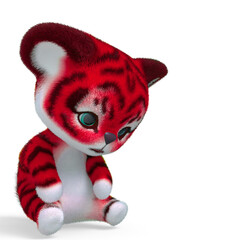 cute tiger cartoon seated and sad in white background with copy space