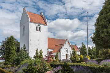 White romanescue church in Denmark