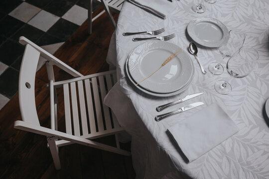 montaje de mesa almuerzo cena boda