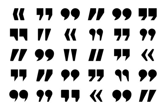 Quotation marks vector collection. Quotes icon. Speech mark symbol.