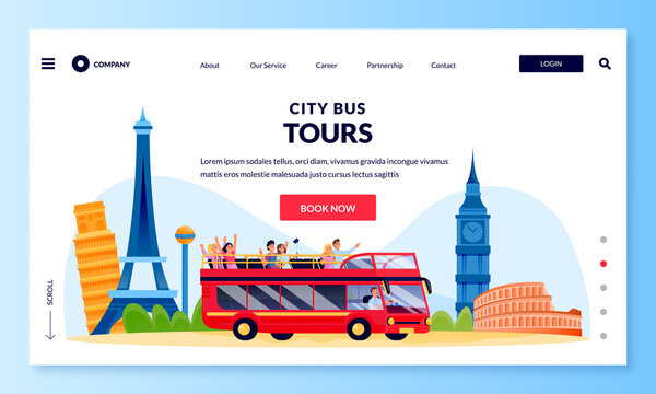 City bus tour in double decker, banner poster design template. Vector flat cartoon illustration of tourists on excursion