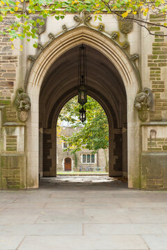 PRINCETON, NEW JERSEY - November 1, 2017: A view of the arches of Princeton University on a fall day