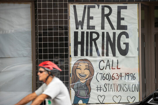 A new business advertises for workers as it prepares to open up during the outbreak of the coronavirus disease in California,