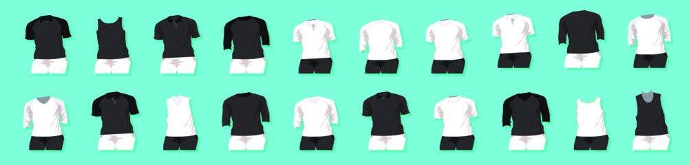 set of raglan round neck t-shirts templates with various models