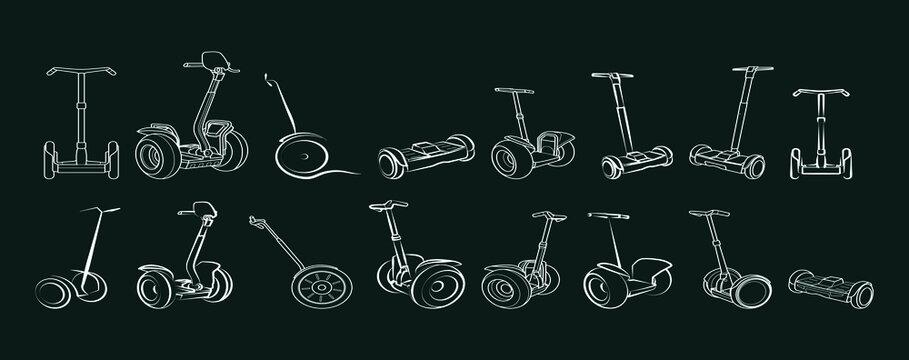 Segway monowheel solo wheel hoverboard gyroscooter set electro eco transport vector illustration