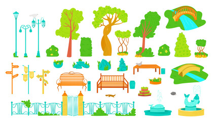 Park outdoor elements, trees, benches, lamppost and fontains, bush and signboards icons set of flat vector illustration. Collection of park objects, garden decorations, summer outdoor in city. Wall mural