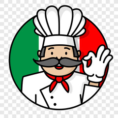 Italian chef cook with italy flag logo isolated on transparent background