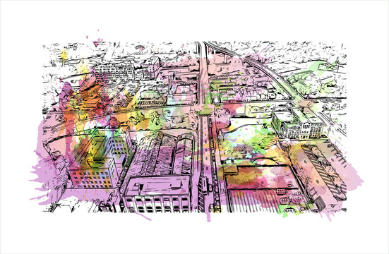 Building view with landmark of Akron is a city in Ohio. Watercolor splash with hand drawn sketch illustration in vector.