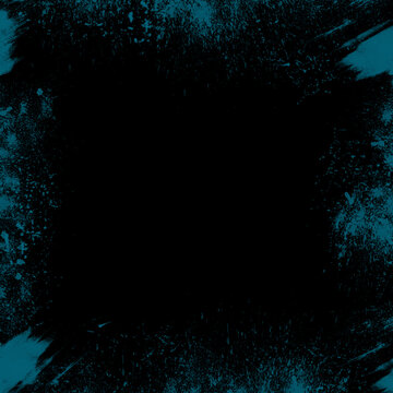An abstract blue paint splatter border background image.
