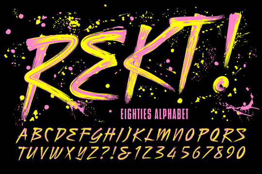 "Rekt! is an 80s Grunge Paint Brush Alphabet with Bright Day-Glow Colors; This Font Includes a Layer of Paint Drips for a Retro Urban Effect. The Word ""Rekt"" is a Phonetic Spelling of ""Wrecked."""