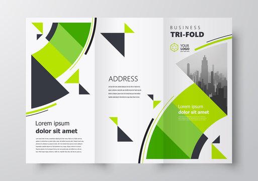 Tri-fold business brochure design template, circles green