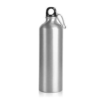 Blank Silver Stainless Steel bottle for mock up. Clear Aluminium Outdoor Hiking tumbler for template. Empty Water Bottle with Cap & Handle for branding Isolated on White Background. Photography shoot.