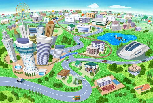 学校やスタジアムのある住宅やビルの街並み3Dイラスト