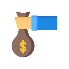 flat style icon of money bag isolated on white background. EPS 10