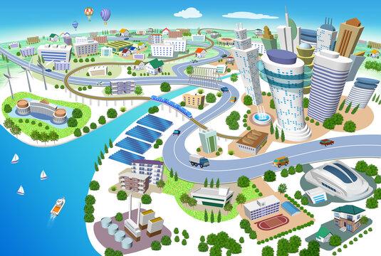 火力発電所、太陽光発電、風力発電のある住宅やビルの街並み3Dイラスト