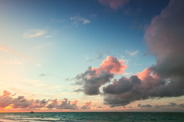 Sunrise sky over Atlantic ocean. Landscape