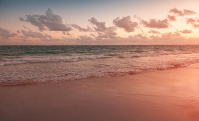 Empty beach at sunrise. Dominican Republic