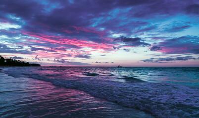 Blue pink sunrise over Atlantic Ocean