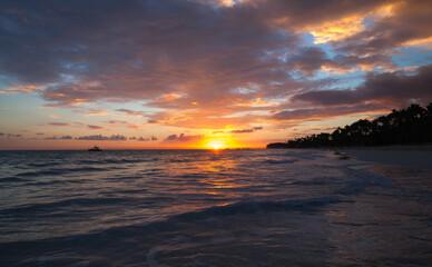 Colorful tropical landscape at sunrise
