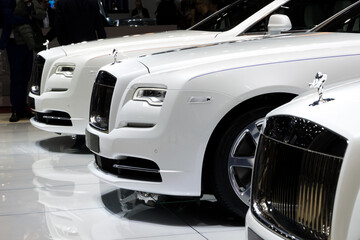 GENEVA, SWITZERLAND - MARCH 7, 2017: Line of Rolls Royce cars presented at the 87th Geneva International Motor Show.