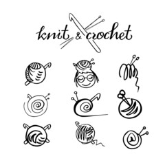 Knit and crochet icon  lable set