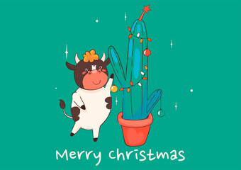 Christmas card with a cow decorating a cactus. Vector graphics