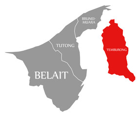 Temburong red highlighted in map of Brunei