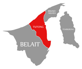 Tutong red highlighted in map of Brunei