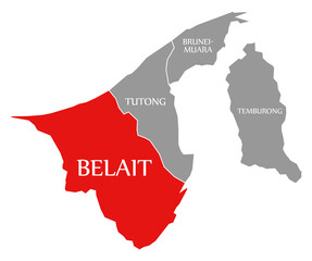 Belait red highlighted in map of Brunei