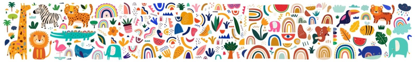 Fototapete - Decorative abstract horizontal banner with colorful doodles. Hand-drawn modern illustration