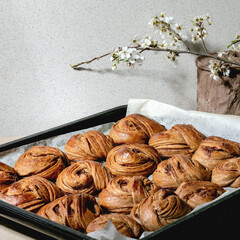 Fresh baked traditional Swedish cinnamon sweet buns Kanelbulle on oven tray cover by baking paper on beige linen table cloth. Blossom branches behind
