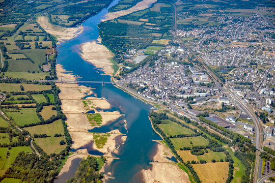 Loire valley river between Nantes and Angers And Ancenis