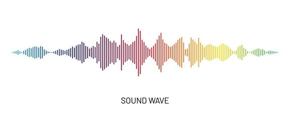 Rainbow gradient soundwave icon. Music, voice, radio wave equalizer. Audio sound symbol
