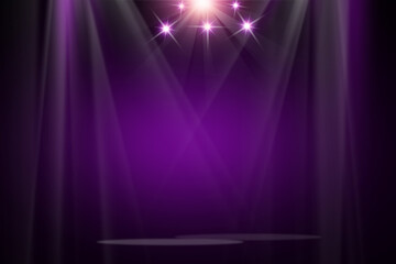 The colorful concert stage theater with flood lights and abstract empty floor showcase spotlights on stage background.