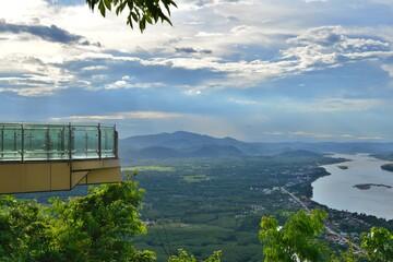 Skywalk on Wat Pha Tak Sue. Mekong river, Mountain and Thai Countryside scenery,  Nong Khai...