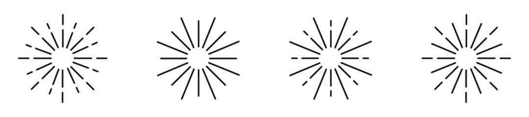 Sunburst line icon collection. Vector isolated element. Sunrays and sunshine illustration.