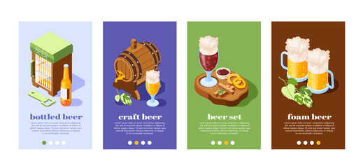 Beer Pub Isometric Banners