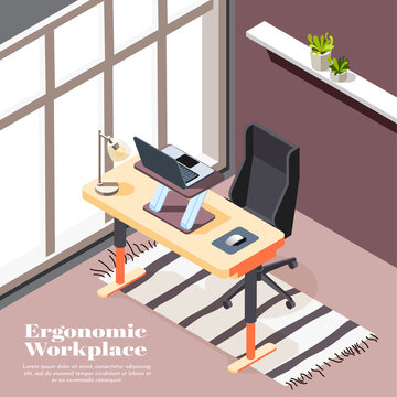 Ergonomic Workplace Isometric Background