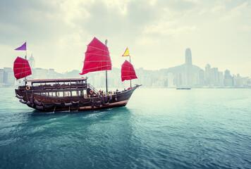 Fotomurales - morning Hong Kong harbour, China