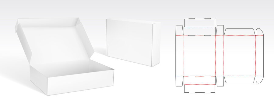 Box With Flip Lid Packaging Die Cut Template